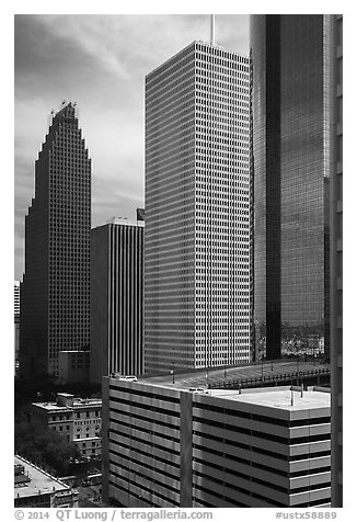 Skyline District. Houston, Texas, USA (black and white)