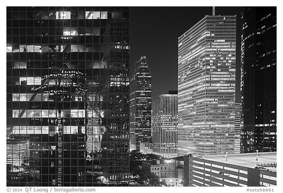 Downtown at night. Houston, Texas, USA (black and white)