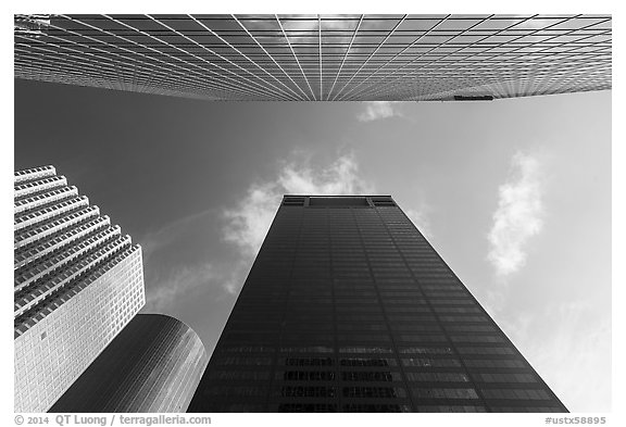 Looking up downtown skyscrapers. Houston, Texas, USA (black and white)