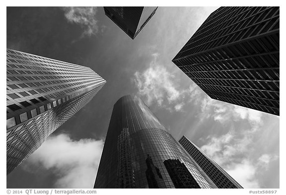 Looking up Skyline District high-rises. Houston, Texas, USA (black and white)
