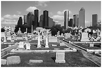 Congregation Beth Israel Cemetery and skyline. Houston, Texas, USA ( black and white)
