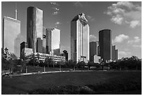 Lawn and Skyline District. Houston, Texas, USA ( black and white)