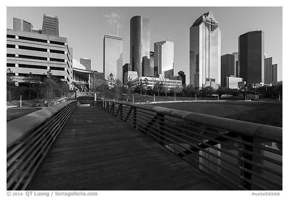 Footbridge and skyline. Houston, Texas, USA (black and white)