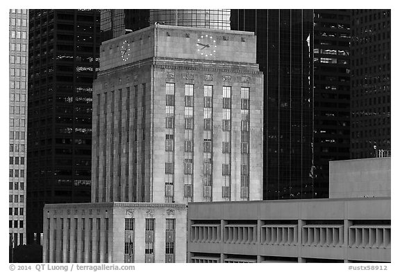 Art deco and modern buildings. Houston, Texas, USA (black and white)