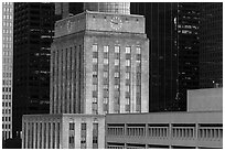 Art deco and modern buildings. Houston, Texas, USA ( black and white)