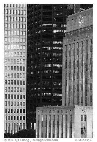 Detail of downtown buildings at dusk. Houston, Texas, USA (black and white)