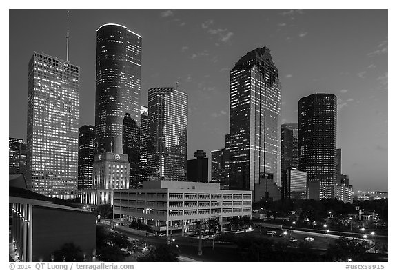 Skyline with lights at dusk. Houston, Texas, USA (black and white)