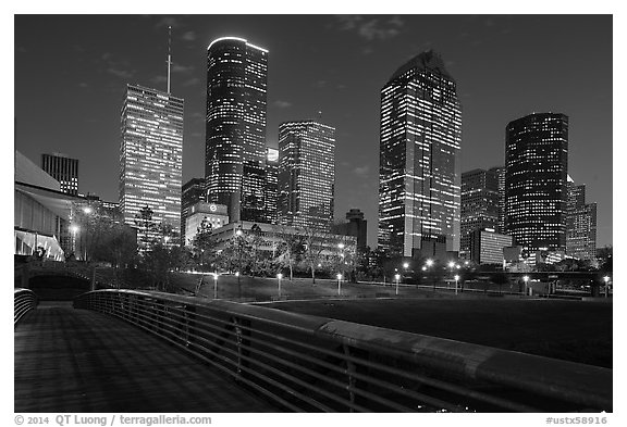 Skyline from footbridge at night. Houston, Texas, USA (black and white)