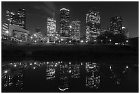 Dowtown skyline and reflection at night. Houston, Texas, USA ( black and white)