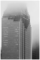 Top of skyscrapers capped in clouds. Houston, Texas, USA ( black and white)
