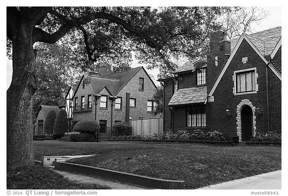 Old houses, North Boulevard. Houston, Texas, USA (black and white)