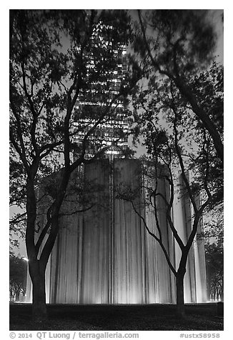 Gerald D. Hines Waterwall and Williams Tower at night. Houston, Texas, USA (black and white)