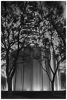 Gerald D. Hines Waterwall and Williams Tower at night. Houston, Texas, USA ( black and white)