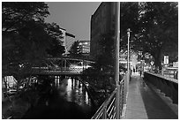 Evening on the Riverwalk. San Antonio, Texas, USA ( black and white)