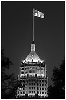 Tower Life Building at night. San Antonio, Texas, USA ( black and white)
