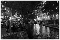 Riverwalk at night. San Antonio, Texas, USA ( black and white)