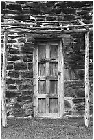 Native American door, Mission San Jose. San Antonio, Texas, USA ( black and white)