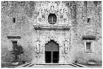 Facade of Mission San Jose church. San Antonio, Texas, USA ( black and white)