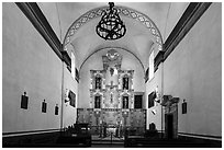 Altar, Mission San Jose church. San Antonio, Texas, USA ( black and white)