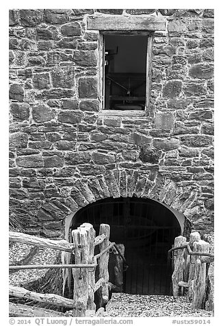 First mill in Texas, Mission San Jose. San Antonio, Texas, USA (black and white)