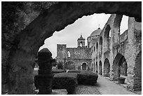 Convento and Church Dome, , Mission San Jose. San Antonio, Texas, USA ( black and white)
