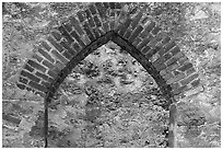 Portal, Convento, Mission San Jose. San Antonio, Texas, USA ( black and white)