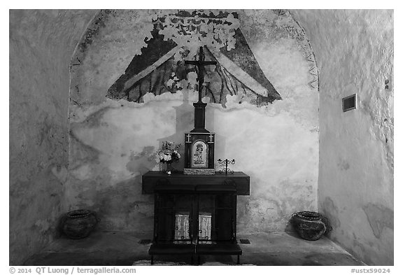 Secondary altar in adobe room, Mission Concepcion. San Antonio, Texas, USA (black and white)