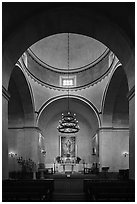 Mission Concepcion Church interior. San Antonio, Texas, USA ( black and white)