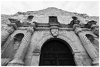 Looking up facade of the Alamo. San Antonio, Texas, USA ( black and white)