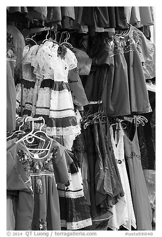 Mexican dresses for sale, Market Square. San Antonio, Texas, USA (black and white)