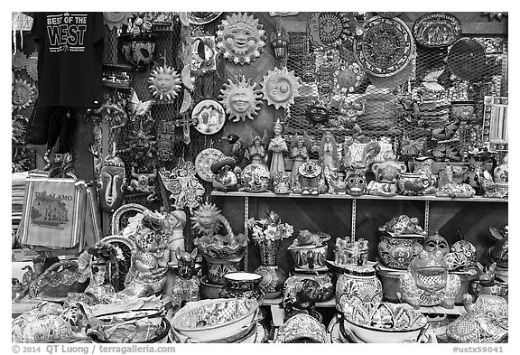 Handicrafts from Mexico for sale, Market Square. San Antonio, Texas, USA (black and white)