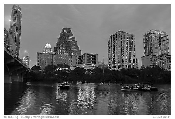 Party on boat. Austin, Texas, USA (black and white)