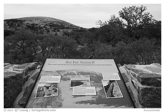 Interpretive sign, Enchanted Rock state park. Texas, USA (black and white)