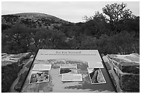 Interpretive sign, Enchanted Rock state park. Texas, USA ( black and white)