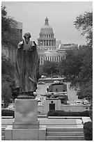 Texas Capitol seen from University campus. Austin, Texas, USA ( black and white)