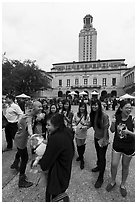Students and Texas Tower, University of Texas. Austin, Texas, USA ( black and white)
