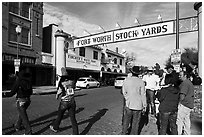Fort Worth Stokyards gate. Fort Worth, Texas, USA ( black and white)
