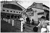 Men in front of Cowtown Coliseum. Fort Worth, Texas, USA ( black and white)
