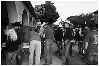 Rodeo contestants line up, Stockyards. Fort Worth, Texas, USA ( black and white)