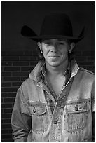 Man with cowboy hat and blue jeans. Fort Worth, Texas, USA ( black and white)