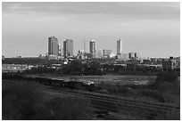 Railroad tracks and skyline. Fort Worth, Texas, USA ( black and white)