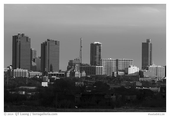 Skyline. Fort Worth, Texas, USA (black and white)
