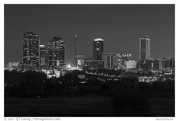 Skyline at night. Fort Worth, Texas, USA (black and white)