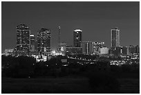 Skyline at night. Fort Worth, Texas, USA ( black and white)