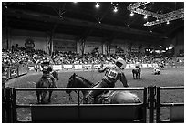 Indoor Rodeo, Cowtown coliseum. Fort Worth, Texas, USA ( black and white)