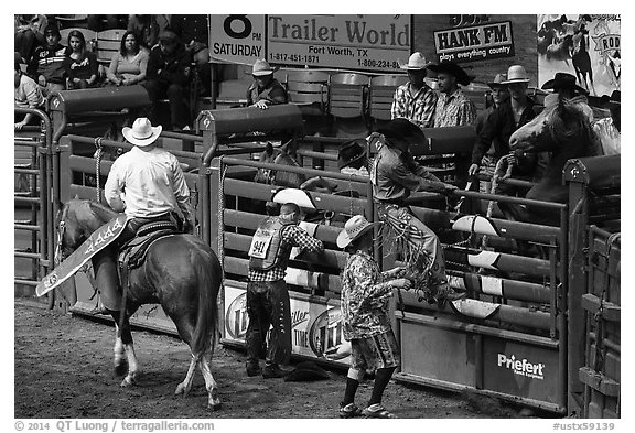 Gates, Stokyards Rodeo. Fort Worth, Texas, USA (black and white)