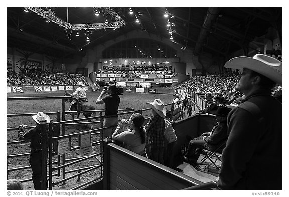 Cowtown coliseum Stokyards Rodeo. Fort Worth, Texas, USA (black and white)