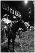 Men with horses and lassos, Stokyards Rodeo. Fort Worth, Texas, USA ( black and white)
