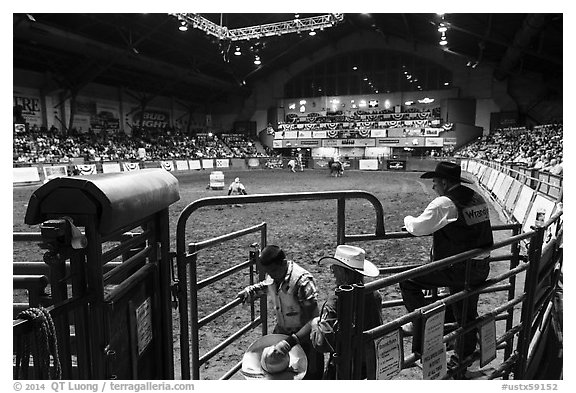 Cowtown coliseum during Stokyards Championship Rodeo. Fort Worth, Texas, USA (black and white)