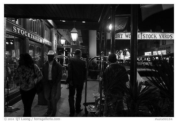In front of Stockyards Hotel at night. Fort Worth, Texas, USA (black and white)